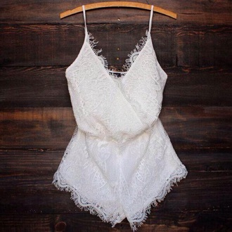 jumpsuit romper white lace dress shorts frilly fashion
