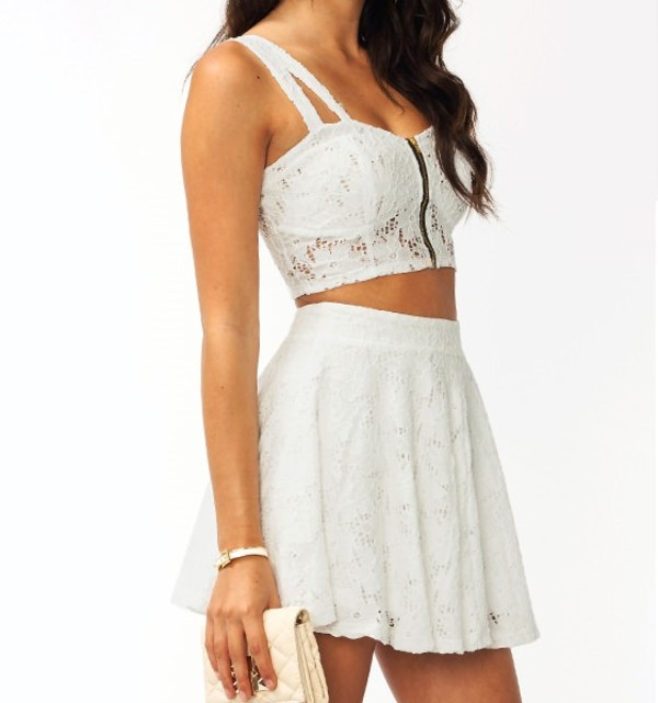tank top top white cut-out skirt