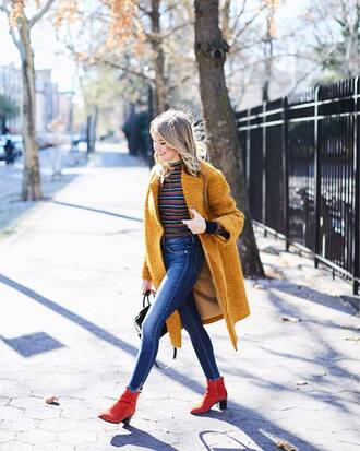 top tumblr stripes striped top coat yellow coat boots red boots ankle boots denim jeans blue jeans