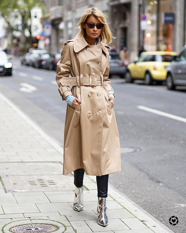 43d89cc4687 shoes tumblr trench coat camel camel coat camel long coat silver boots  ankle boots sunglasses cat