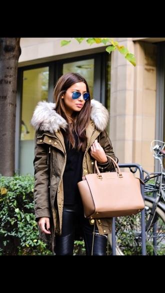 coat paka kaki jacket style jeans sunglasses