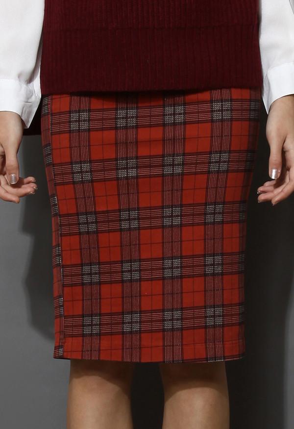 skirt brick red taartan check pencil skirt
