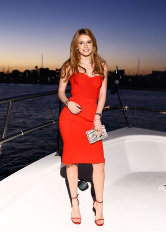 bag clutch dress red dress bella thorne bodycon dress midi dress sandals sexy dress strapless bustier dress