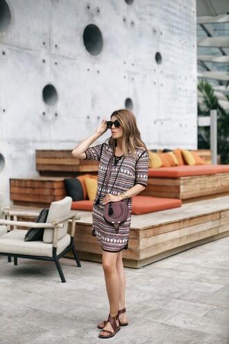 dress sunglasses tumblr mini dress patterned dress pattern sandals flat sandals bag brown bag shoes