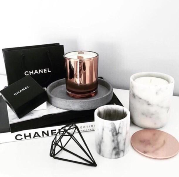 Home accessory diamonds candle black metal copper for Accessoires decoration