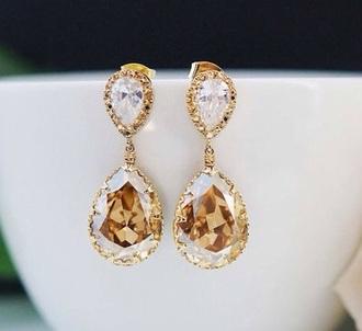 jewels earrings rhinestones vintage