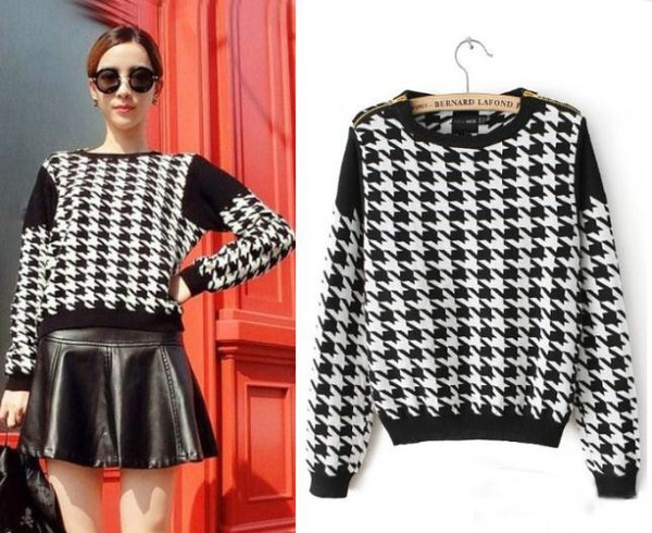 sweater aliexpress houndstooth black white multicolor