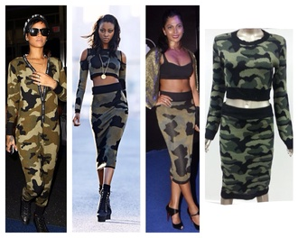 dress rihanna sweater skirt river island knit camo camouflage army red lime sunday