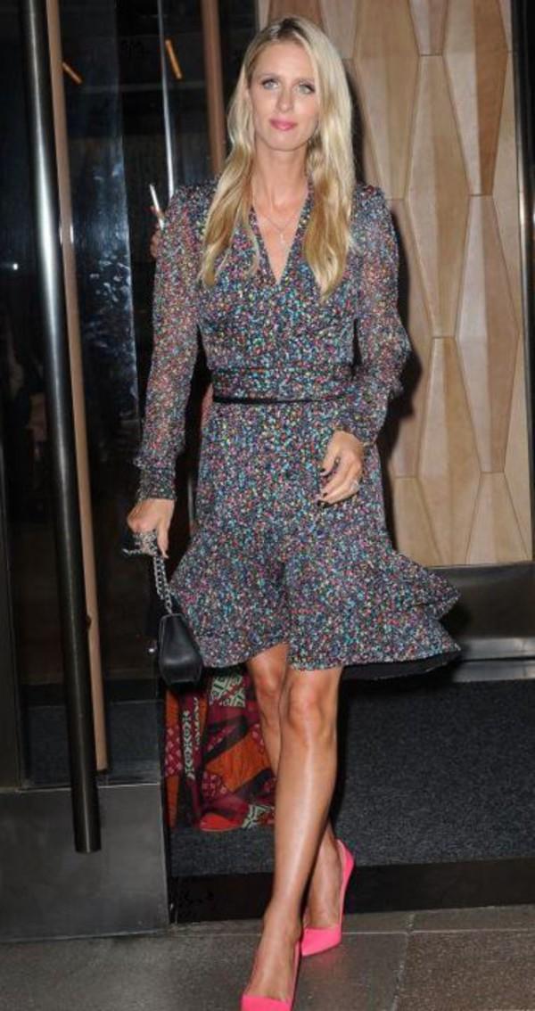 b596ba86183a66 dress wrap dress nicky hilton pumps fashion week.