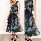 dress,london look,floral,one shoulder,one shoulder dress,midi dress,70s style,flounced dress,vintage,vintage dress,chiffon,formal dress,prom dress