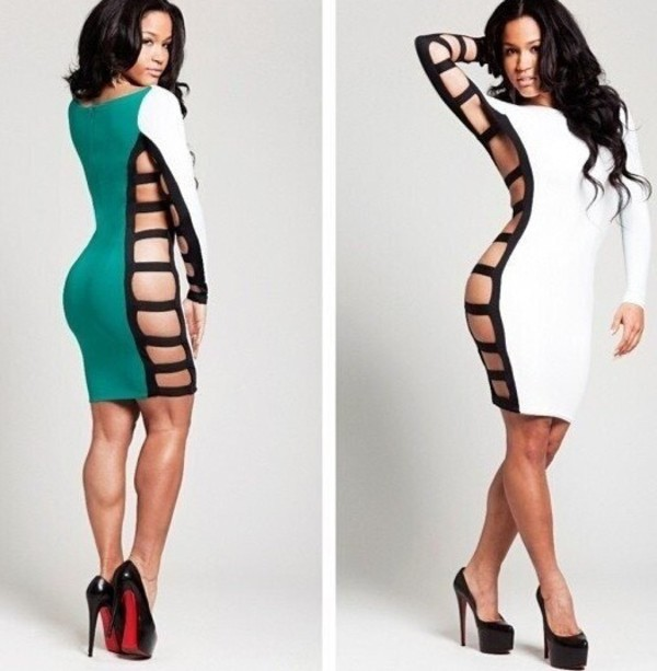 dress hot girl white green bodycon dress bodycon cut-out sexy dress long sleeves cut-out dress