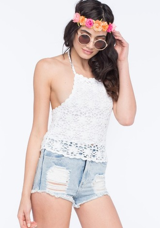 blouse crop tops summer bohemian boho crochet lace festival cochella flower band ripped shorts highwaisted spring embroidered round sunglasses shorts sunglasses