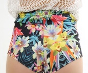 shorts,flowers short,pants,bottoms,colorful,tropical,High waisted shorts,bright,flowers,flowered shorts,high waisted,black,floral,panties,bikini,pretty,tumblr,high,waisted,swimwear,swimmers,undies,clothes,tropical bikini,purple swimwear,green swimwear,leaves,floral swimwear,flower bikini,high waisted bikini,purple,green,tropical swimwear