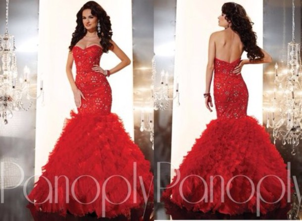 Dress: prom dress, red dress, mermaid prom dress, red prom dress ...
