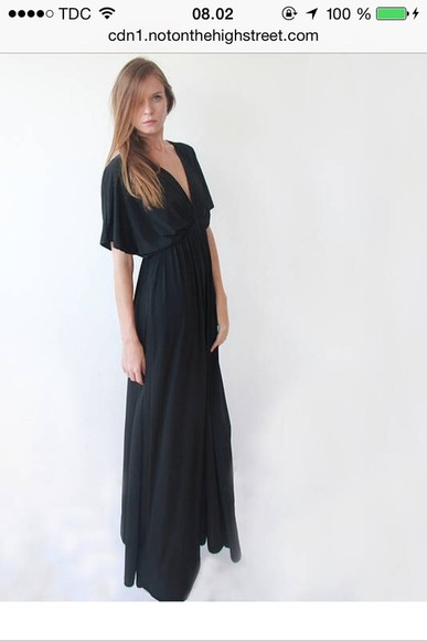 dress black maxi dress black maxi dress long sleeve bat wings bat sleeves