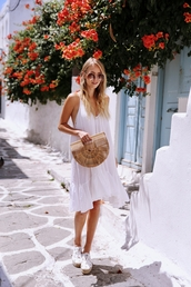 dress,tumblr,midi dress,white dress,summer dress,espadrilles,bag,basket bag,chloe,sunglasses,round sunglasses,shoes