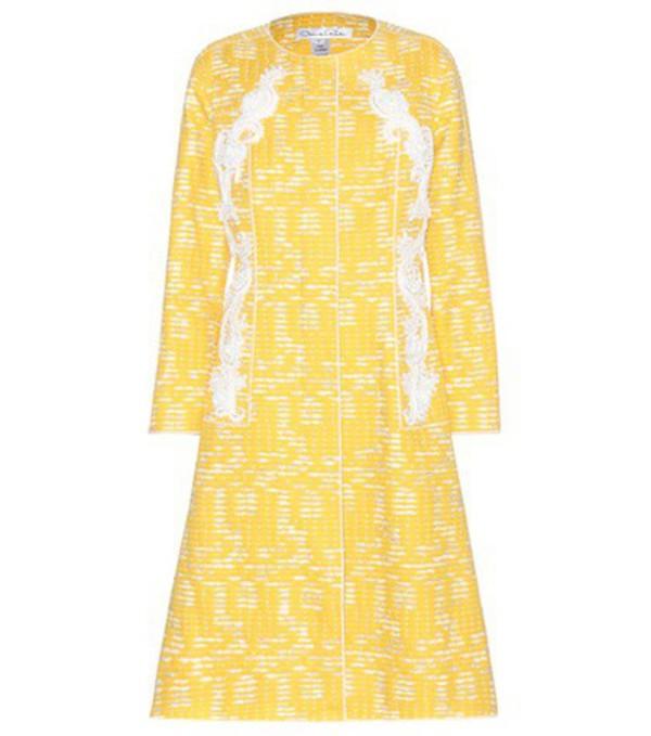 Oscar de la Renta Embellished Cotton-blend Coat in yellow