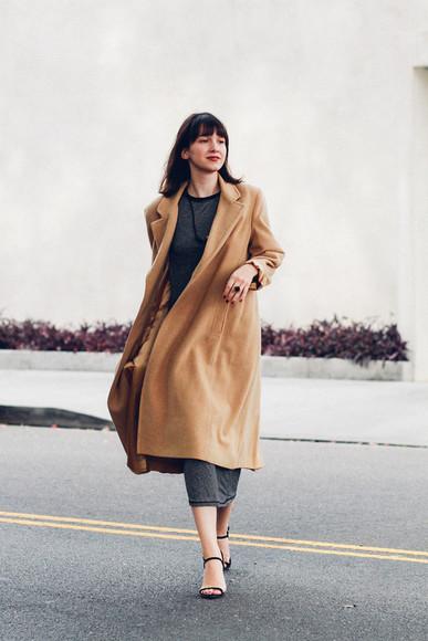 the stylish wanderer blogger bag jewels camel coat knitwear charcoal dress sandals