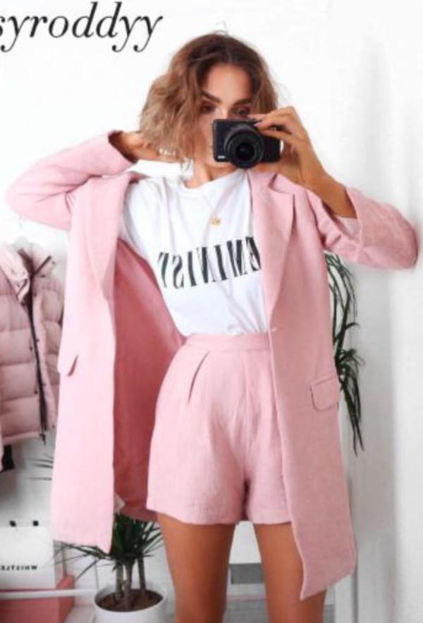 Coat Pink Jacket Blush Blazer Suit Top Summer Shorts