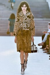 jacket,louis vuitton cruise collection,leopard print,faux fur jacket,skirt,midi skirt,boots,ankle boots,clear boots,bag,handbag,louis vuitton bag