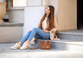 only my fashion style blogger shoes blouse jeans bag coat sneakers handbag trench coat skinny jeans spring outfits