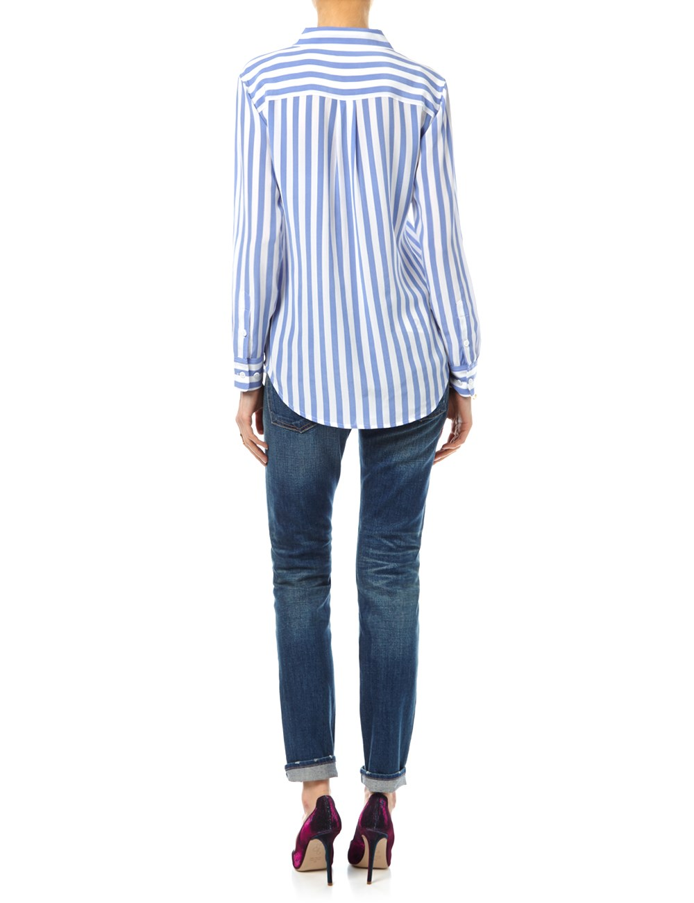 Stripe silk slim signature shirt