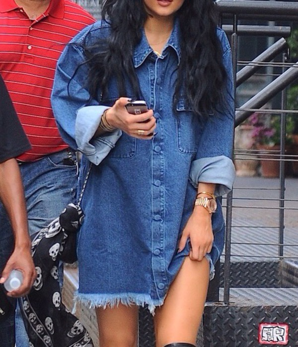 top denim kylie jenner oversized black friday cyber monday blouse