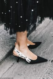 shoes,tumblr,fashion week 2017,streetstyle,black shoes,slingbacks,kitten heels,mid heel pumps,pointed toe,skirt,black skirt,midi skirt,embellished