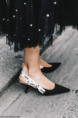 shoes tumblr fashion week 2017 streetstyle black shoes slingbacks kitten heels mid heel pumps pointed toe skirt black skirt midi skirt embellished