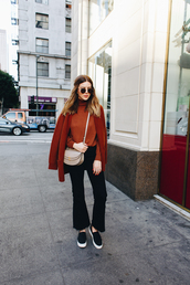 michelle madsen,home - take aim,blogger,cardigan,jeans,bag,shoes,sunglasses,crossbody bag,rust,fall outfits,fall colors,slip on shoes