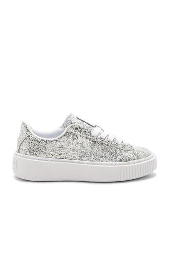 glitter metallic silver shoes