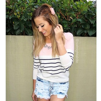sweater top pink stripes white jumper casual cute girly black colorblock satnightalrite