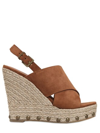 sandals wedge sandals suede tan shoes