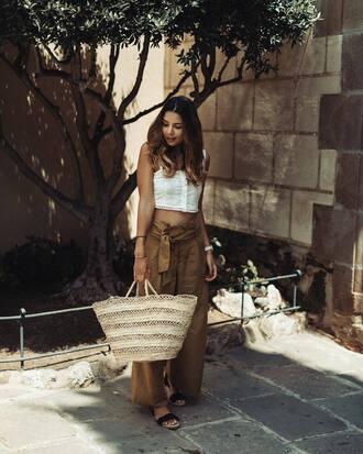 pants tumblr wide-leg pants khaki khaki pants bag basket bag top white top crop tops