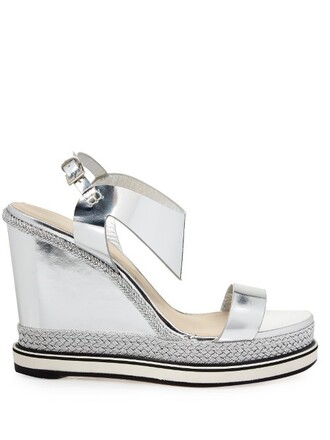 sandals wedge sandals leather silver shoes