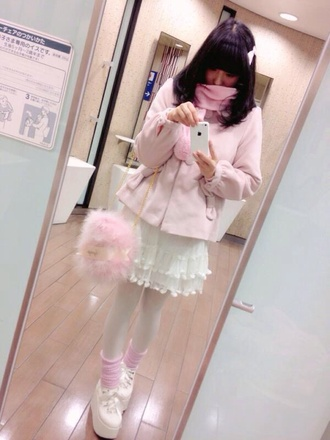 bag kawaii girly fluffy purse pastel pink lolita japanese fashion fairy kei pastel goth japan anime