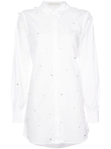 Jonathan Simkhai - pearl embellished long shirt - women - Cotton - XS, White, Cotton