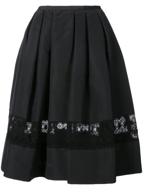 Carolina Herrera skirt women lace cotton black silk