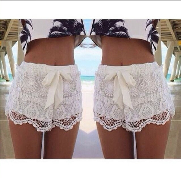 shorts white summer bow feminine cute t-shirt lace shorts bows blouse ebonylace ebonylacefashion www.ebonylace.net white lace shorts palm tree print crop tops top white shorts lacy zaful palm tree lace boho trendy girly casual style