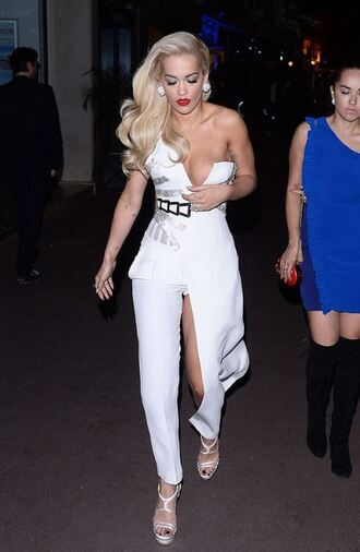 jumpsuit pants white rita ora one shoulder bustier slit dress sandals gown