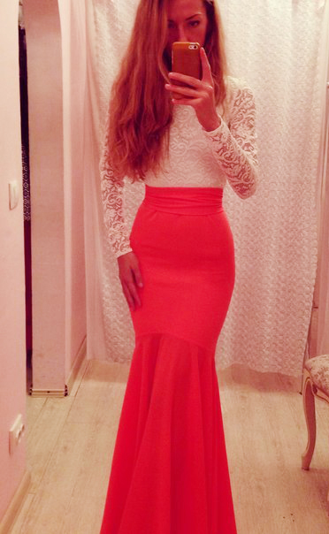 Fashion enchanting watermelon red long sleeve lace skinny evening dresses