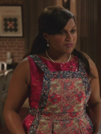 dress pink embellished the mindy project mindy kaling mindy lahiri jacquard cocktail