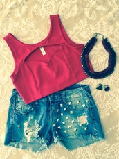 blouse,denim,boho shorts,nastygal,crop tops,red tank top,red crop top,red bras,red bralet,red bra,red bustier,studs,studded shorts,denim shorts,statement necklace,red necklace,gold ring,triangle ring,triangle,triangles,red stone,red ring,jewels