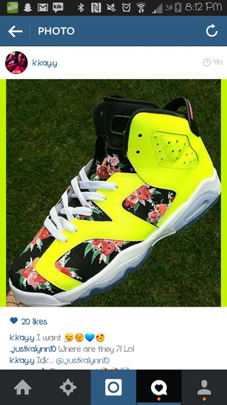 yellow neon floral shoes