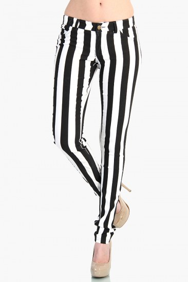 LoveMelrose.com From Harry & Molly | Stripped Stretch Pants - Black / White