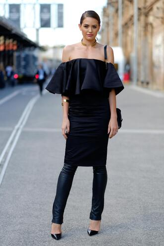 dress dress over pants black dress bodycon dress midi dress off the shoulder off the shoulder dress ruffle ruffle dress black leather pants leather pants black pants pumps gold choker choker necklace streetstyle