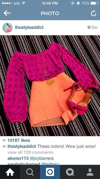 blouse orange top shorts bottoms