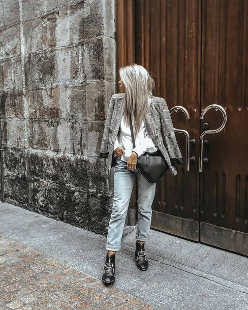 jeans flat boots leather boots white shirt check blazer crossbody bag