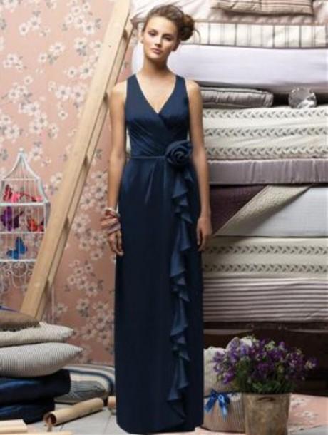 dress junoesque evening dress navy dress