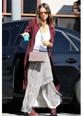 skirt jessica alba boots shirt cardigan burgundy spring outfits maxi skirt shoes